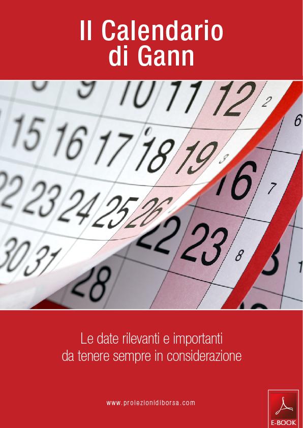Calendario Di Borsa.Il Calendario Di Gann Libreria Di Borsa E Books E